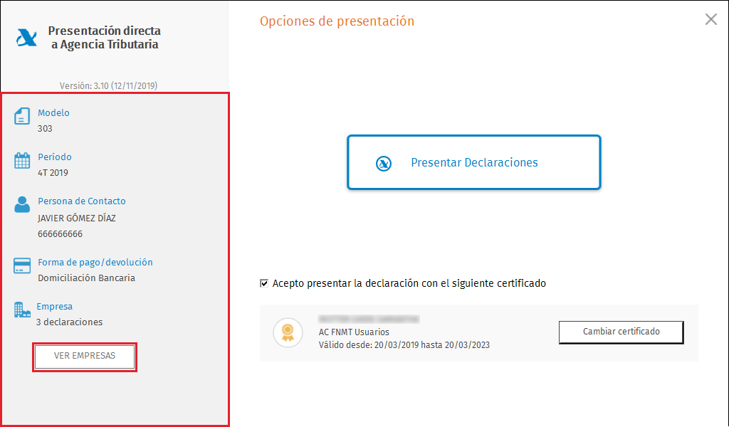 PDA Opciones de presentacion masiva Ver empresas