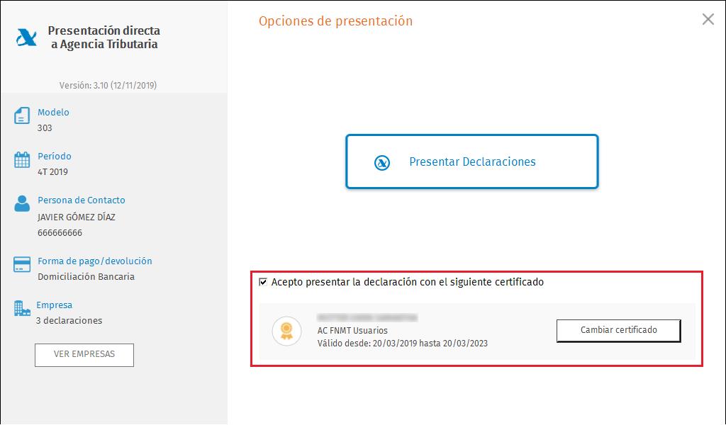 PDA Opciones de presentacion masiva certificado