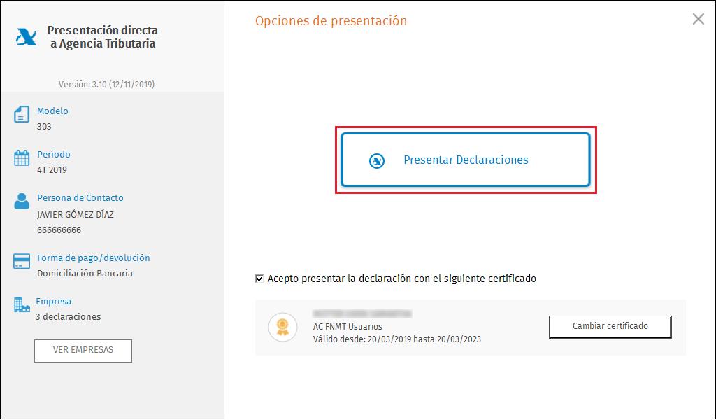 PDA Opciones de presentacion masiva presentacion