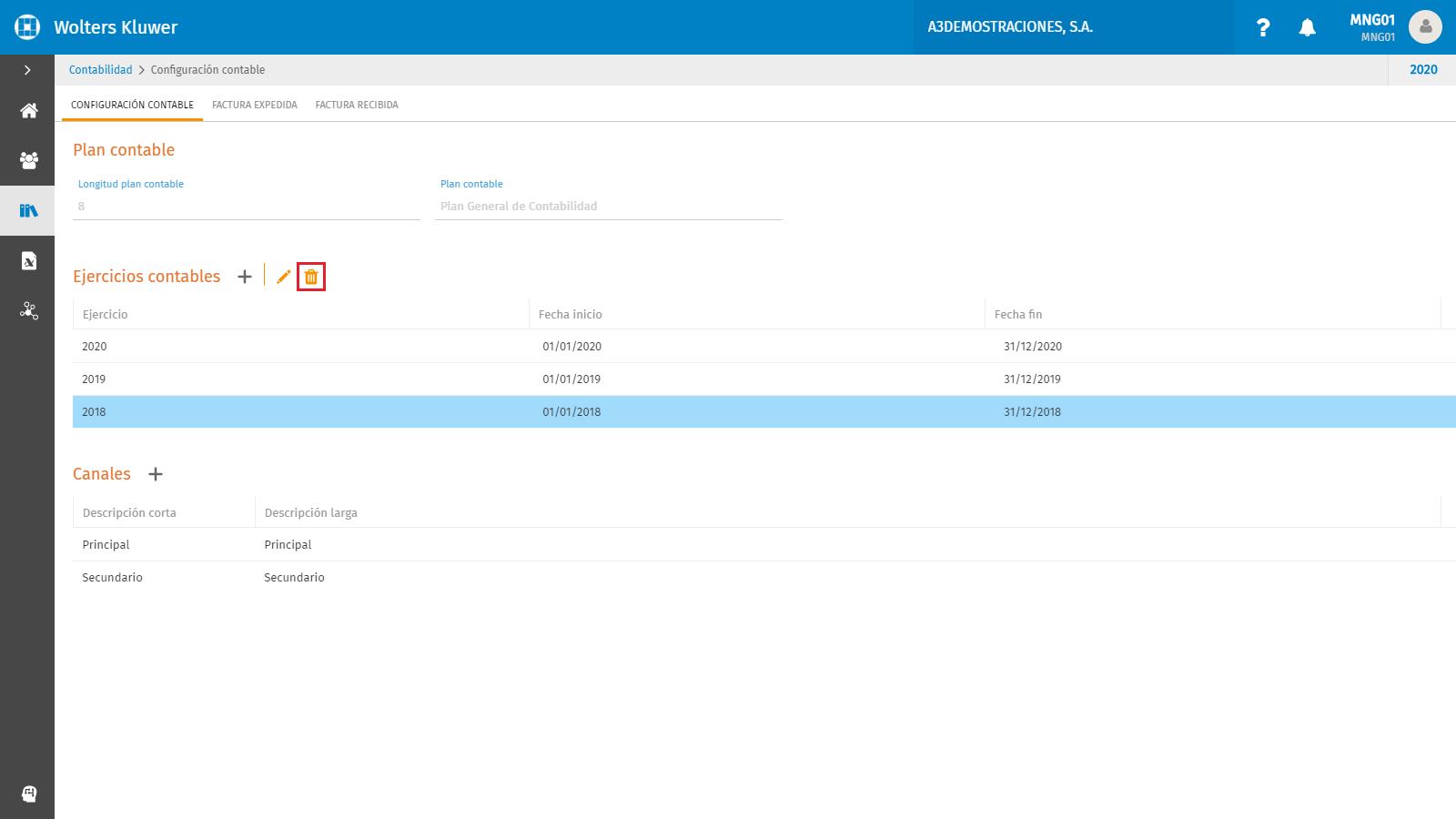 Configuracion contable eliminar