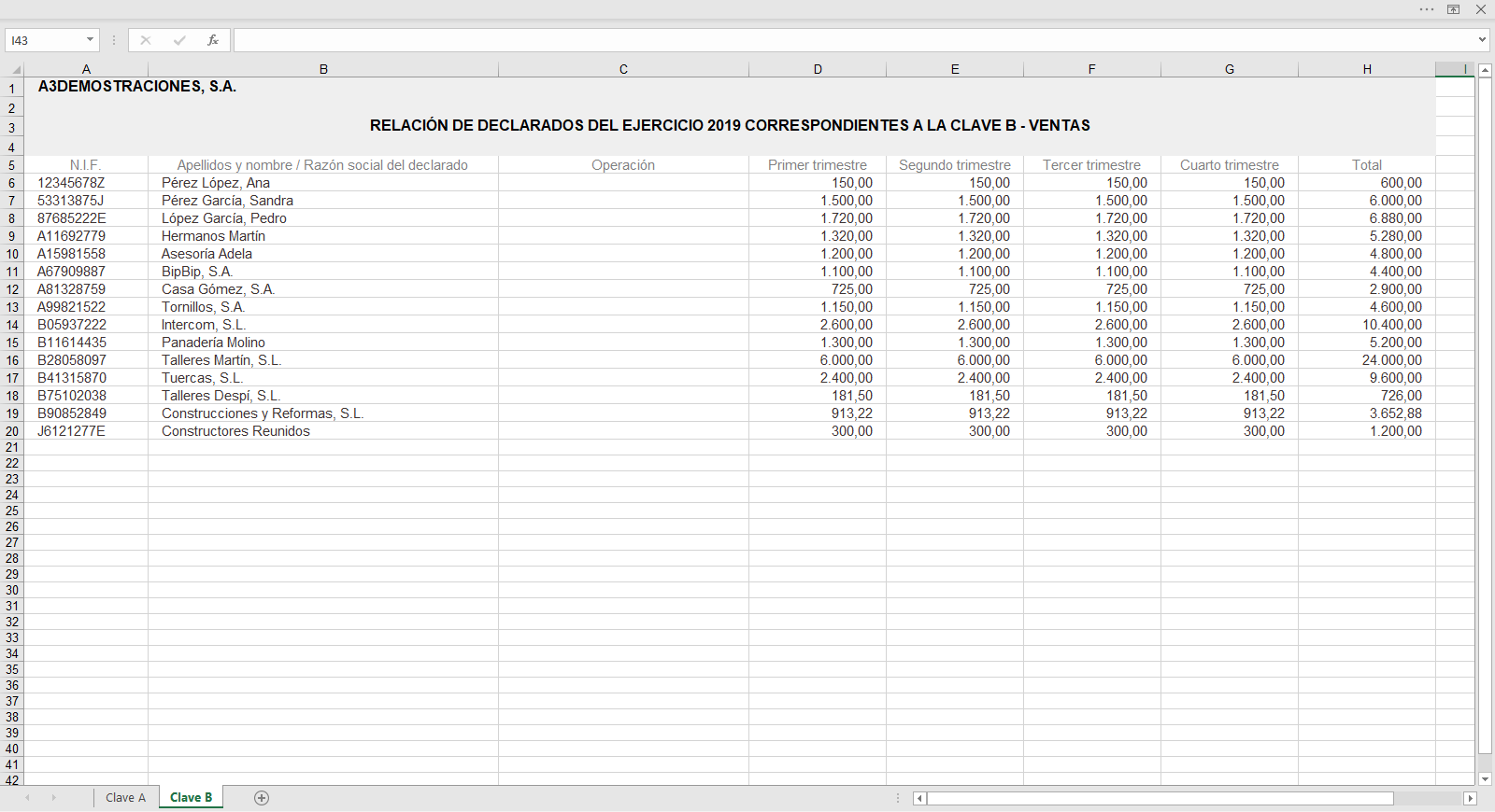 Listados de Gestion de declarados Excel