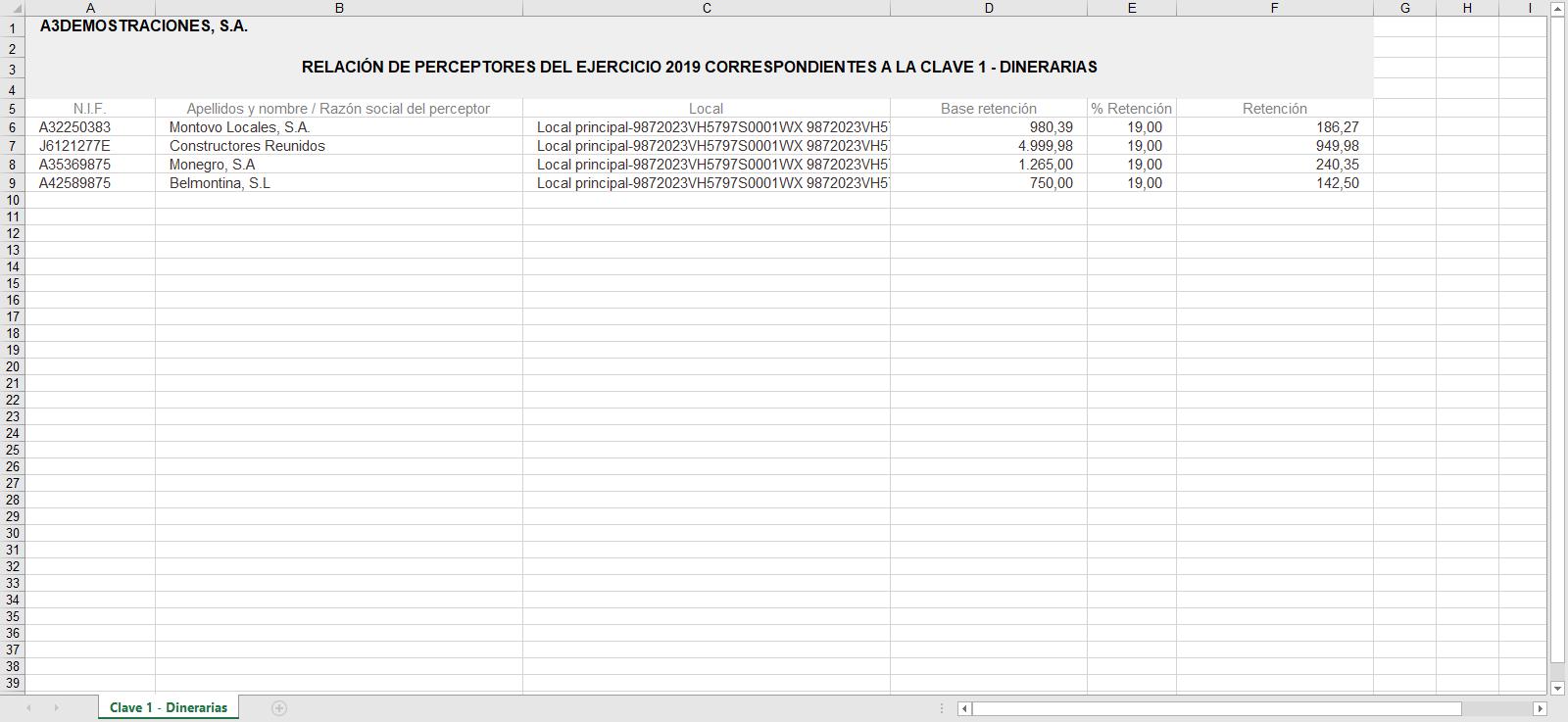 Listados de Gestion de perceptores Excel