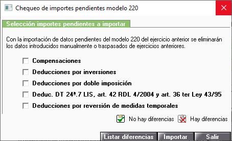 Chequeo de importes pendientes modelo 220