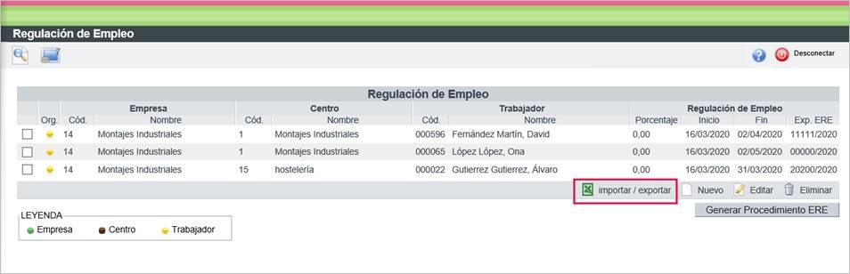 importar/ exportar formato 5 ERE/ ERTE