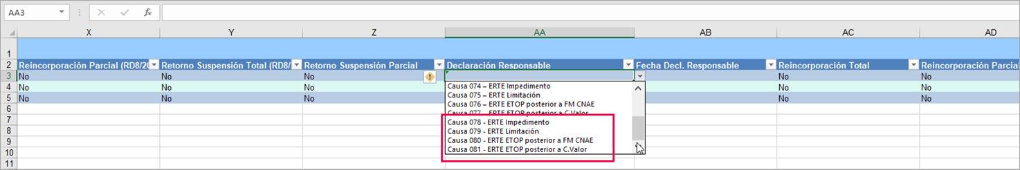 informar datos ERTE formato 5