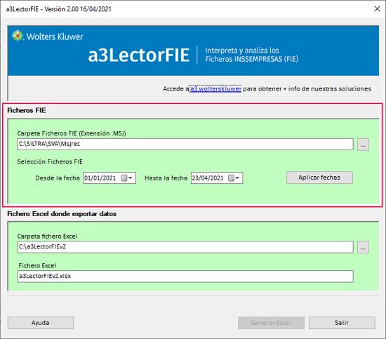 configuracion ficheros fie
