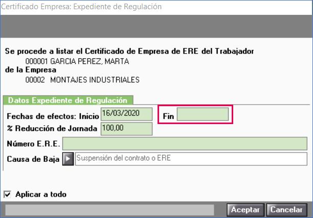 certificado ERTE fecha fin