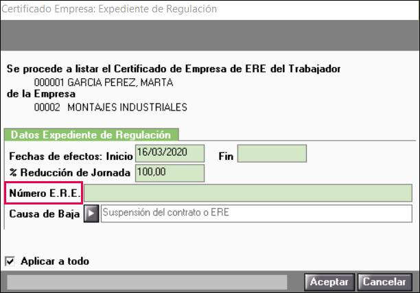 numero ERE ERTE certificado