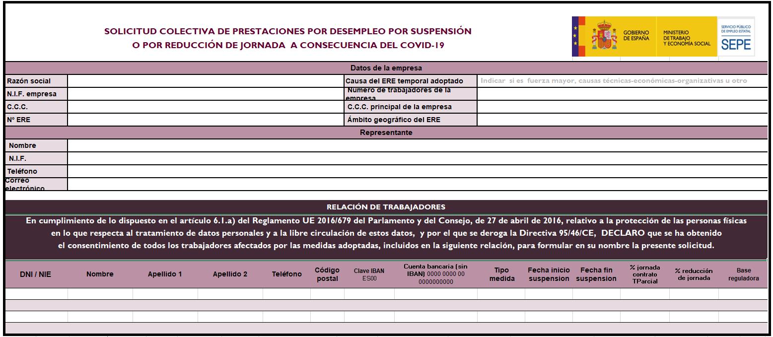 solicitud colectiva prestaciones ERE ERTE COVID19