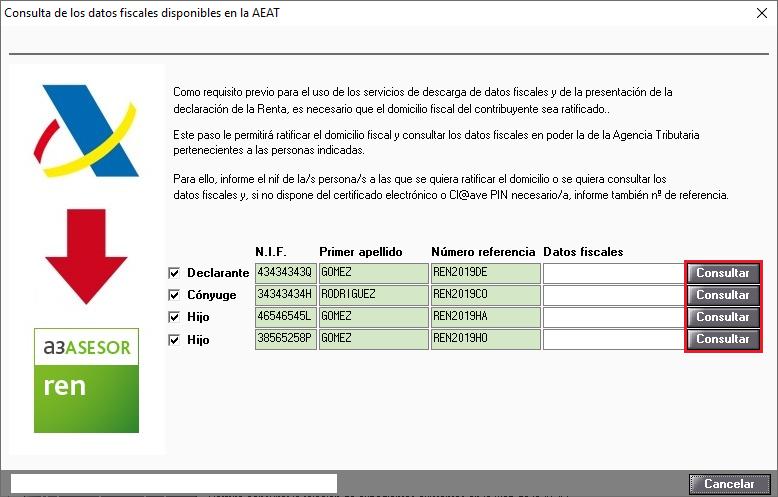 Consulta de los datos fiscales disponibles en la AEAT Consultar para ratificar