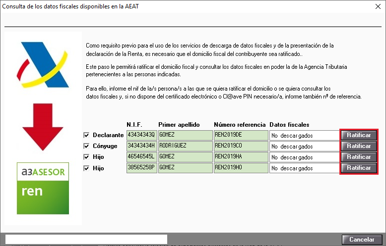 Consulta de los datos fiscales disponibles en la AEAT Ratificar