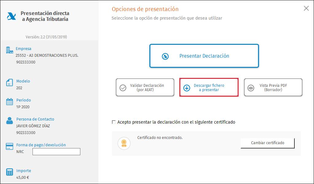 PDA Opcion presentacion