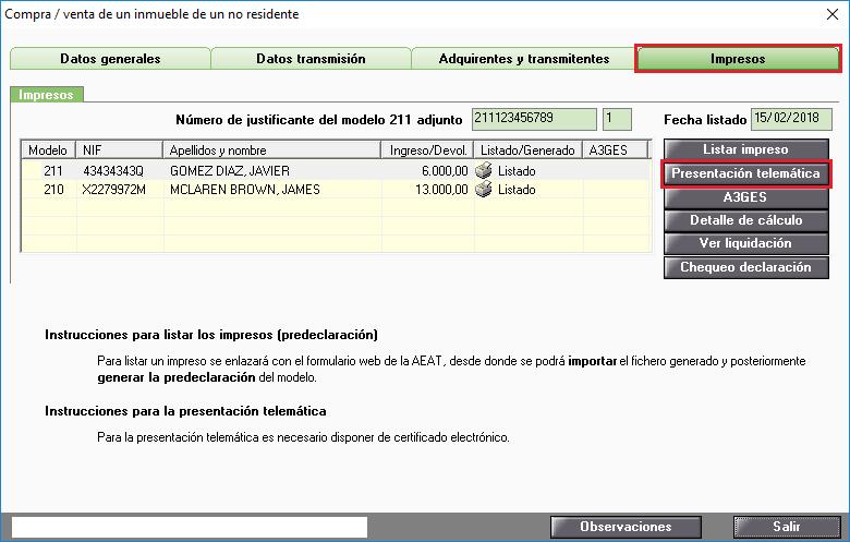 Modelo 210 Presentacion telematica inmuebles