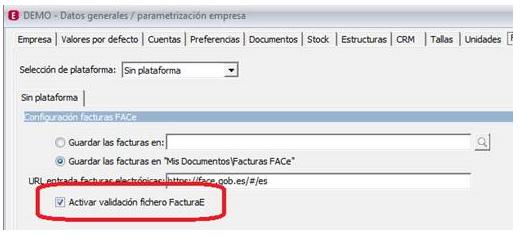 Datos generales Activar validacion fichero FacturaE