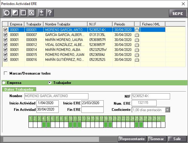 fichero xml inactividad ERTE