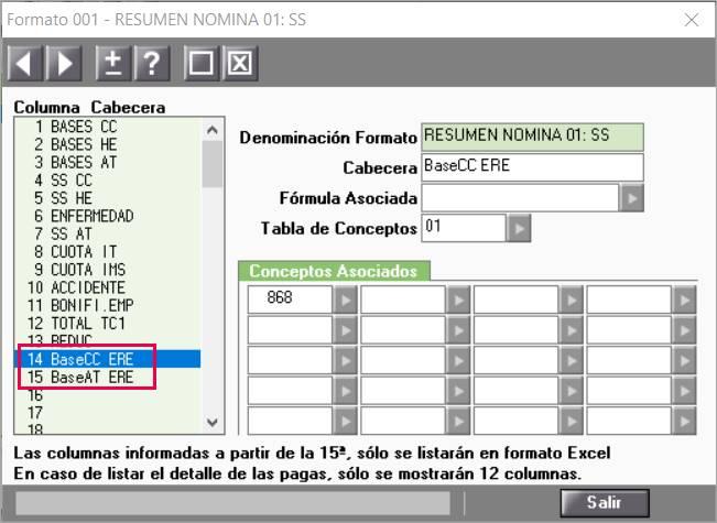 configurar resumen nómina ERTE exoneración cuotas