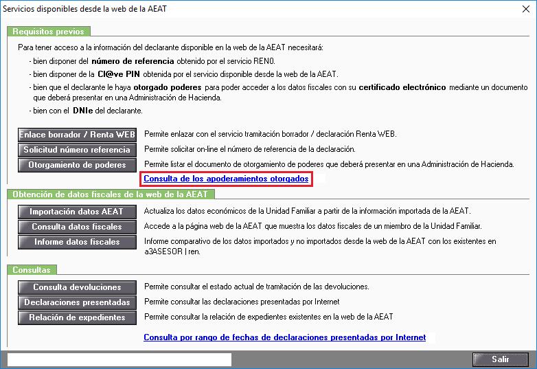 Servicios disponibles desde la web de la AEAT - Consulta de los apoderamientos otorgados