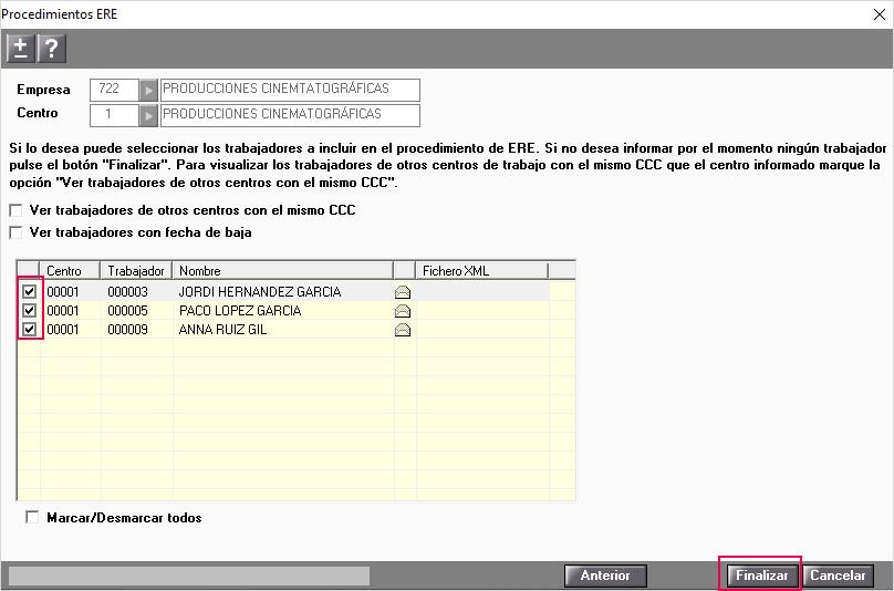 seleccion trabajadores a incluir en el fichero ERE