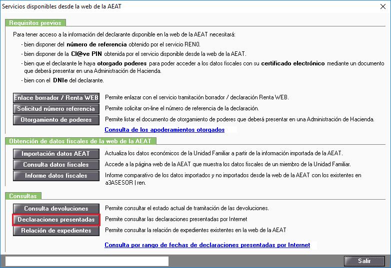 Servicios disponibles desde la web de la AEAT - Declaraciones presentadas