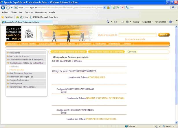 Página Web de la Agencia Española de Protección de Datos