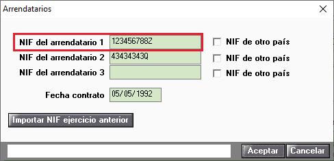 Arrendatarios NIF 1 incorrecto