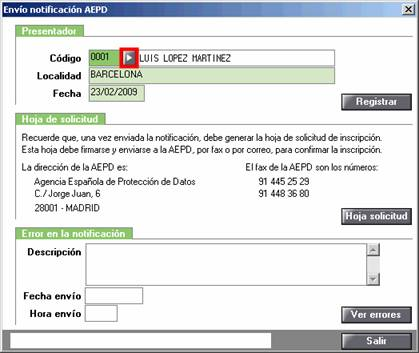 Envío notificación AEPD