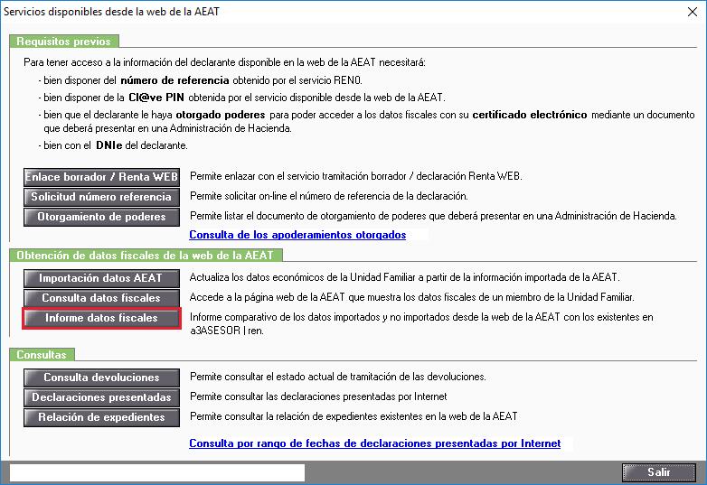 Servicios disponibles desde la web de la AEAT - Informe datos fiscales