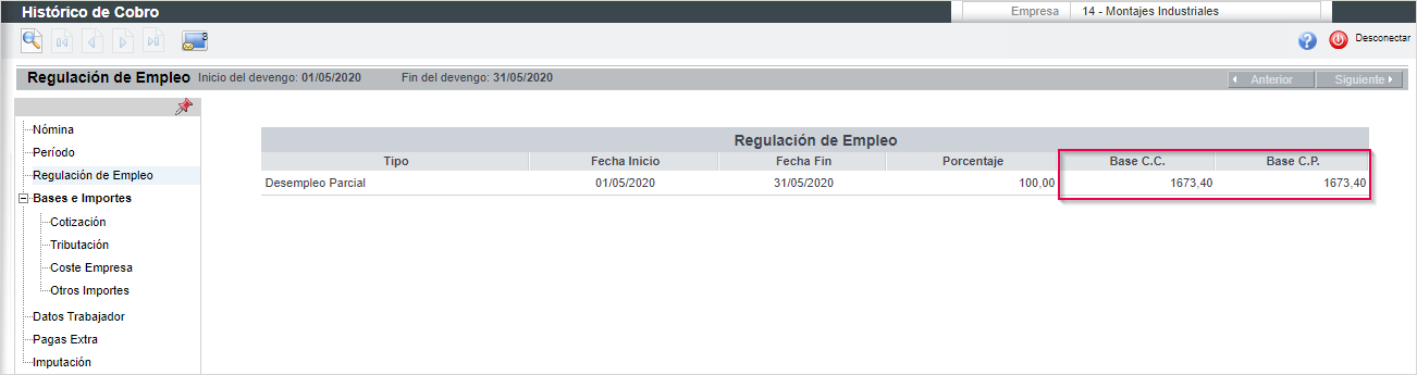 Historico Cobro regulacion empleo
