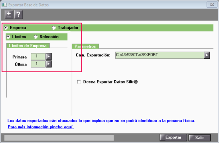 exportación de datos