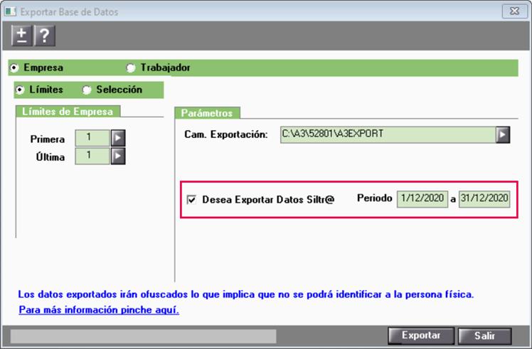 incluir datos siltra en la exportación