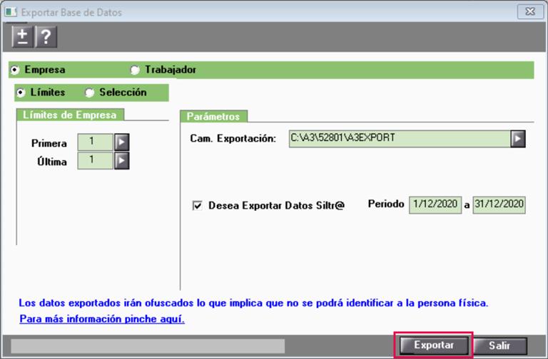 exportar datos de la aplicación