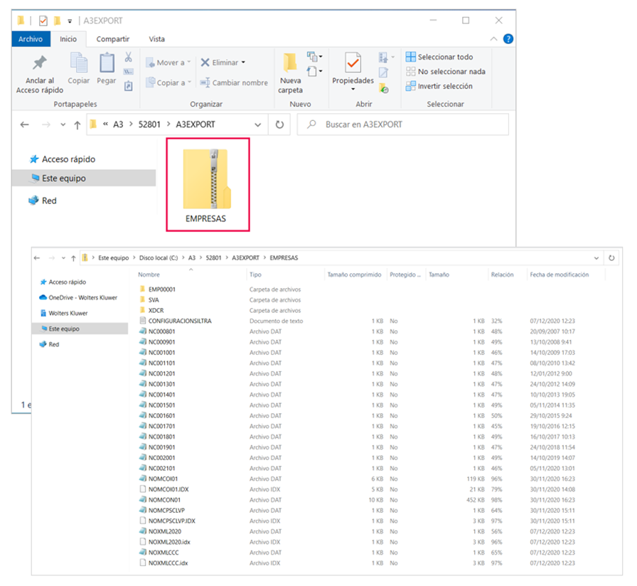 fichero zip con información empresas exportadas
