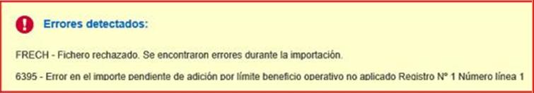 Error 6395 - Error en el importe pendiente de adicion por limite beneficio operativo no aplicado