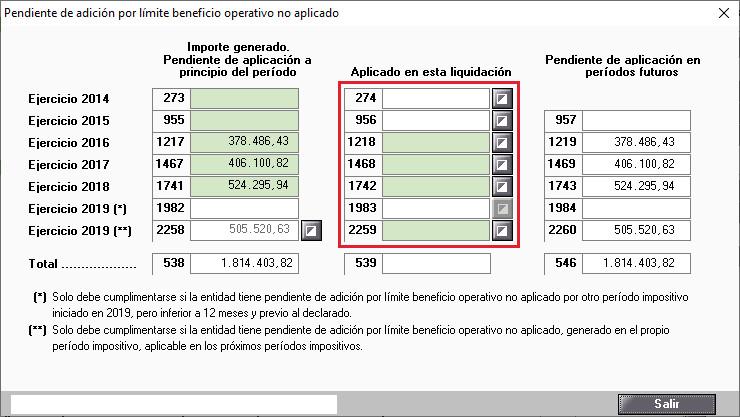 Pendiente de adicion por limite beneficio operativo no aplicado Todas casillas manuales