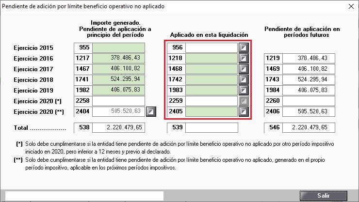 Pendiente de adicion por limite beneficio operativo no aplicado Todas casillas manualess
