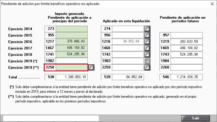 Pendiente de adicion por limite beneficio operativo no aplicado casilla 2258