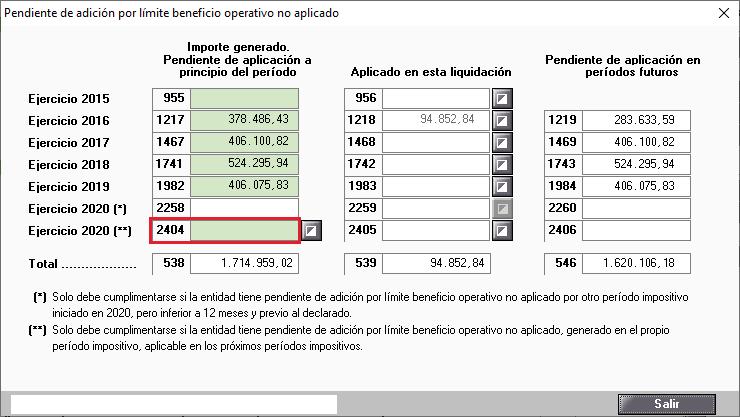 Pendiente de adicion por limite beneficio operativo no aplicado casilla 2404