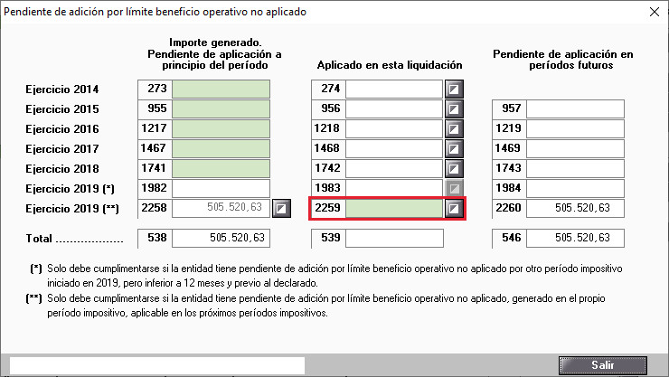 Pendiente de adicion por limite beneficio operativo no aplicado manual 2019
