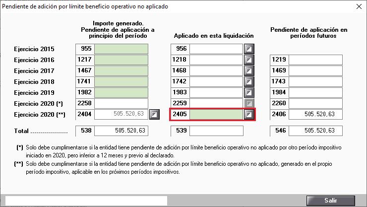 Pendiente de adicion por limite beneficio operativo no aplicado manual 2020