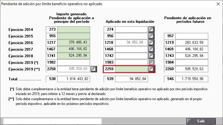 Pendiente de adicion por limite beneficio operativo no aplicado
