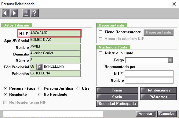 Personas relacionadas Administradores NIF Obligatorio