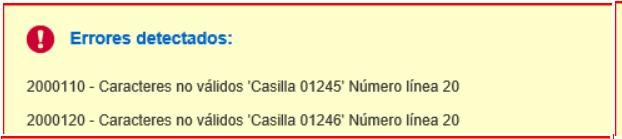 errores 2000110 2000120, casillas 01245 01246