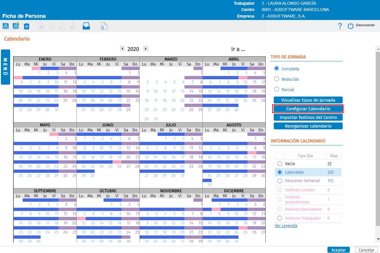 configurar calendario trabajador