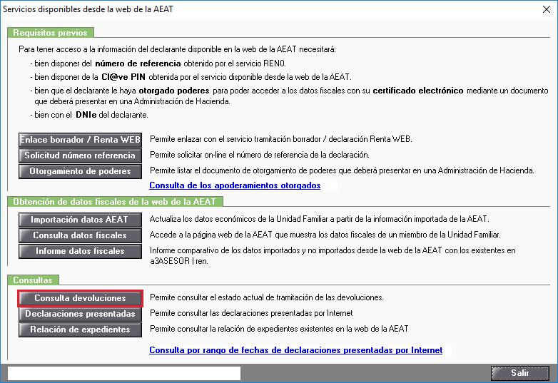 Servicios disponibles desde la web de la AEAT - Consulta devoluciones