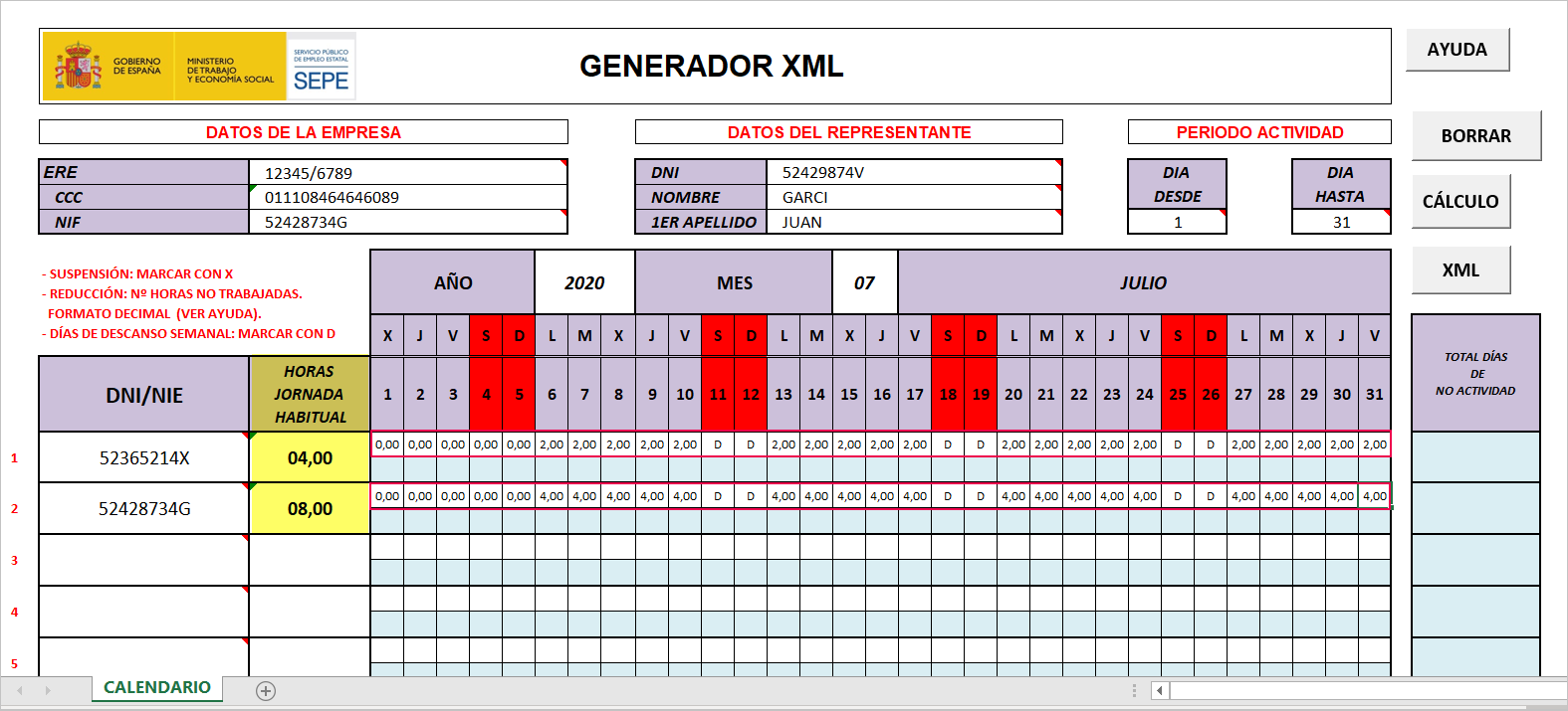 generador XML peridos actividad sepe