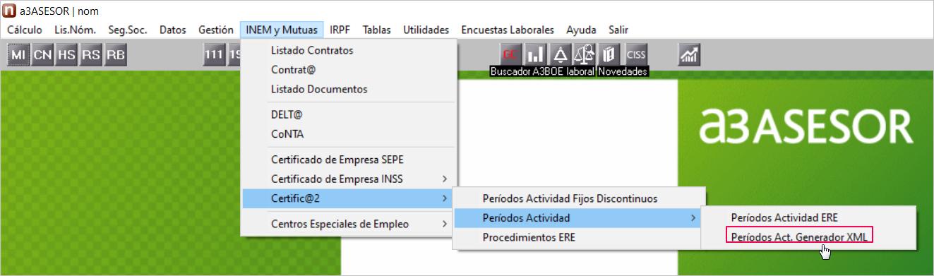 periodos actividad asistente XML SEPE