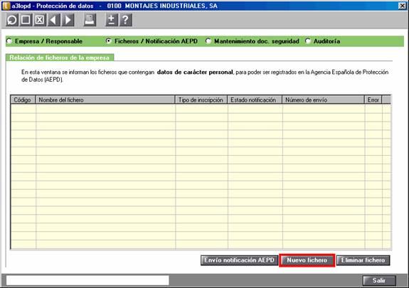 Ficheros / notificaciones AEPD