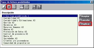Tipos de fichero predefinidos