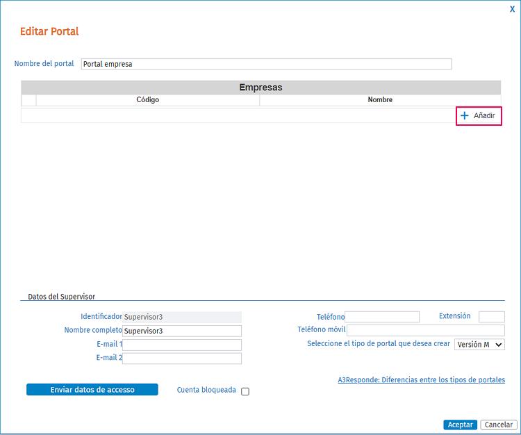 como asignar empresas al portal