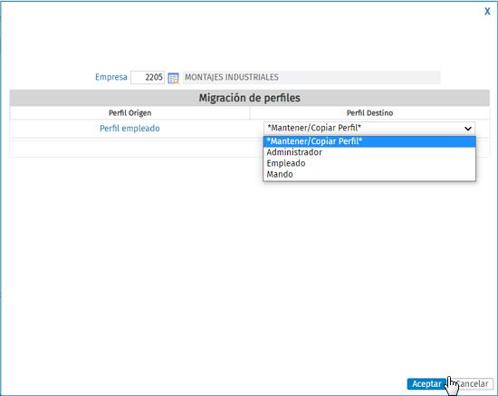 seleccionar perfil destino en empresa portal